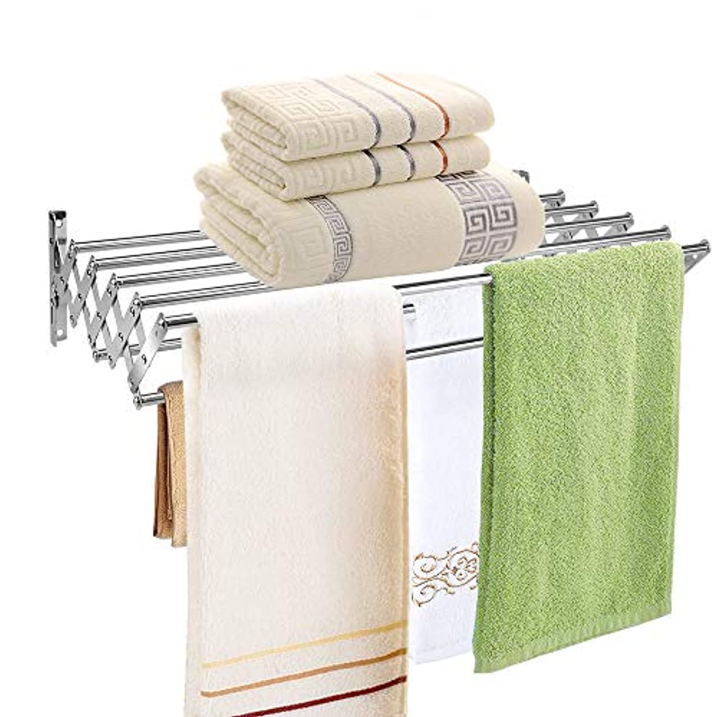 Mai Hongda Accordion Wall Mounted Drying Rack Stainless Steel Clothes Retractable Folding Accordian Wall Hanger Hanging Towel Holder 60lb Capacity for Laundry Bathroom No Drilling (24'' Standard)