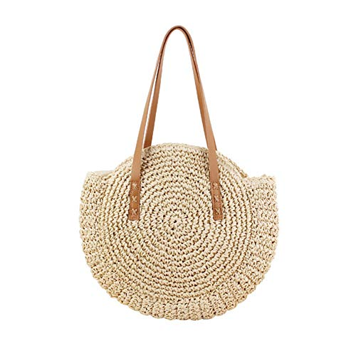 Fanville - Borsa rotonda da donna, in vimini, borsa da spiaggia e borsa da spiaggia in vimini