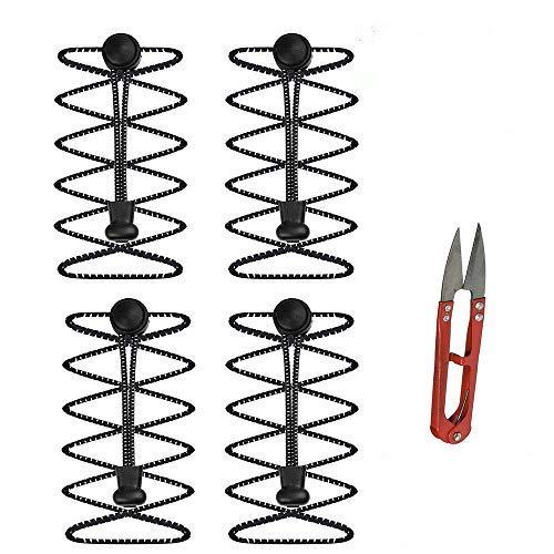 2 paar elastische veters met snelsluiting (veters lengte 100 cm, 1 kleine schaar) zwart