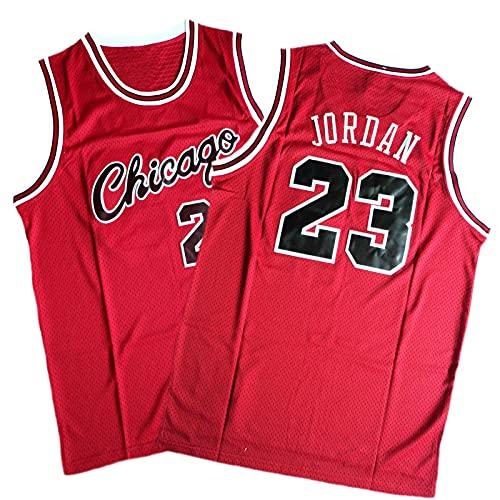 QNDYDB Jordan # 23 Mesh Hip-Hop Sports Fan Jersey, 90er Jahre Retro Stickkatze-Basketball-Uniform, Komfortables und atmungsaktives ärmelloses T-Shirt, Erwachsene Unisex-Wes red-M