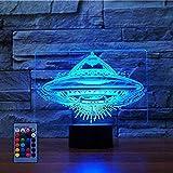 3D UFO Luz noche Control remoto USB alimentado Interruptor táctil Decoración Lámpara escritorio mesa 7/16 Luces que cambian color Lámpara mesa LED Navidad Hogar Amor Brithday Niños Niños Decoración