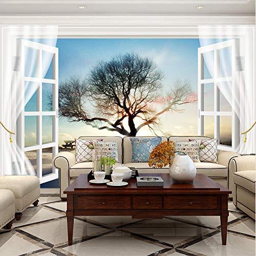 Papeles Pintados de Pared Árbol al atardecer de ventana Foto Wallpaper Comedor Sala de Estar Sofá Telón de Fondo Pintura de Pared Mural de Pared-120x100cm