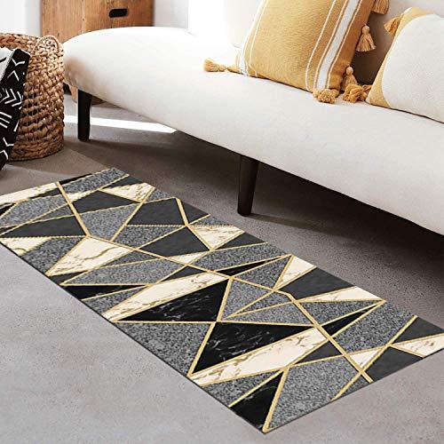 QIANGZI Alfombra de pasillo antideslizante de poliéster negro, no se decolora con geometría 3D, para cocina, dormitorio, pasillo y pasillo (tamaño: 120 x 250 cm, color: uno)