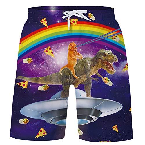 Funnycokid Big Bambino Surf Pantaloncini Stampato 3D Graphic Pattern Funky Dinosauro Bambini Nuotare Indossa Pantaloncini 12-14 Anni
