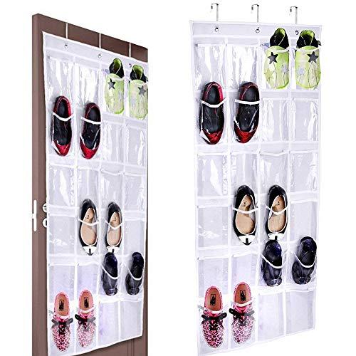 BESTZY 24 fickor över dörren organiserare hängande organisatör/organisering skoställ hopfällbara garderober förvaringsväska med krokar (vit)