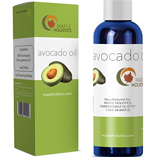 100% Pure Avocado Oil - Deep Tissue Moisturizer for Hair Face & Skin - Rich in Retinol & Vitamin E to Reduce Wrinkles - Supports Skin Rejuvenation & Hair Growth - 4 Oz - USA Made By Maple Holistics