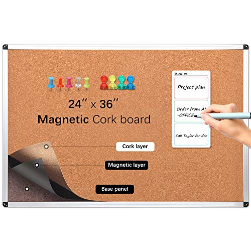 Ai-office Magnetic Cork Board for Wall, Patent Dual Surface,Includes 4 Magnets and 20 Color pushpins, 1 A5 to do List,24x36 corkboard, 2x3 Decorative Cork Bulletin Board Set,Easy Hang