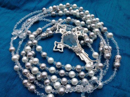 Silver an White Crystal Pearls Wedding Lasso/Wedding Rope/Lazo De Boda Perlas Grises Y Blancas