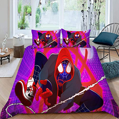 Comforter Bedding Set 3 Piece Set, S_Piderman Spider Verse Children Bedding Set for Any Bed Room Or Guest Room, Twin (68x88 inches) Miles M_orales