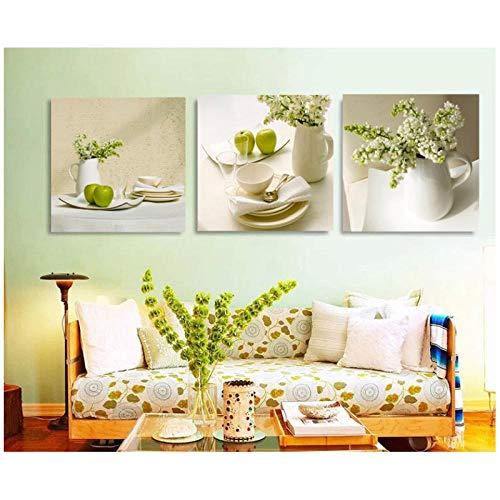 Jwqing eetkamer keuken kamer decoratieve foto-3 stuks stilleven en bloemen canvas schilderij restaurant café servies decoratief kunstwerk (geen lijst 60 x 90 cm)