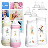 MAM Essential Bottle Set, regalos para bebés de +2 meses, con 2 biberones anticólicos Easy Start (260 ml), 2 cuerpos de biberón (320 ml) y 4 tetinas (2x T3 + 2x TX), NIÑA (Girl)