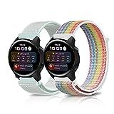GiiMos 2 Piezas Correas Compatible con Huawei Watch GT 2 46 mm /GT 2e Nylon Pulseras de Repuesto Suave y Transpirable para Huawei Watch 3 /3 Pro (22MM) Arcoiris y lago azul