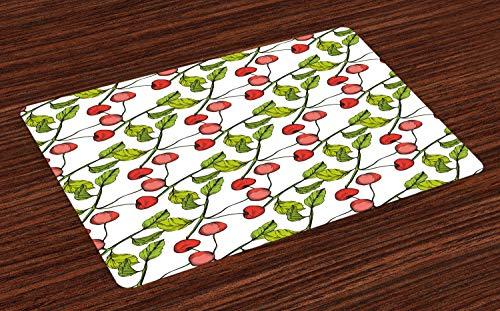 ABAKUHAUS Cerise Lot de Sets de Table en 4 pièces, Feuillu Branche Fruit Cartoon, Tissu Lavable pour Salle à Manger et Cuisine, 30 cm x 45 cm, Corail Vert Pomme Blanc