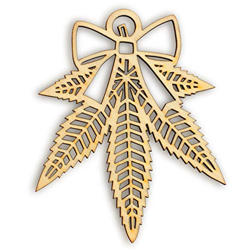 Southside Ornaments Misteltoe Wood Leaf Ornaments - 1 Christmas Decorations or Rear View Mirror Charms