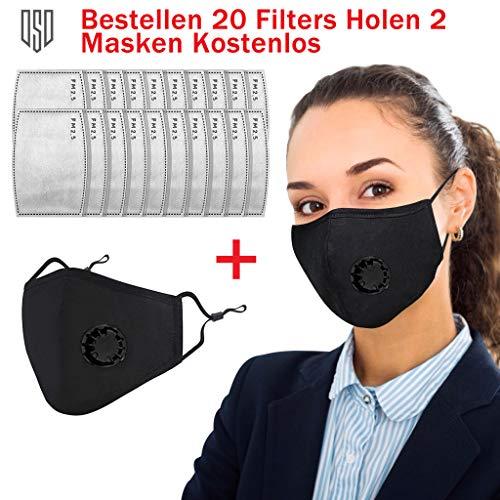 20 Stück PM2.5 Aktivkohlefilter, 2 Stück Atemschutz Ventil, Mundmaske mit Filter, Staubmasken Feinstaub, Anti-Staub-Maske, Wiederverwendbar, Waschbar, Atemschutzmaske mit Filter-Baumwoll-Blatt
