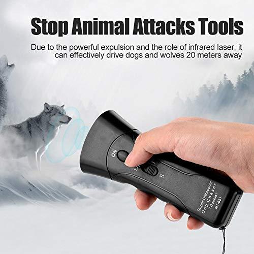 Ultraschall Repelling Dogs Tool, Handheld-Hundeabwehrmittel, LED Taschenlampe, Dog Chaser Stop Tierangriffe Ultraschall Hundeschutz für Sicherheit, Outdoor, Walking, Hundetrainer