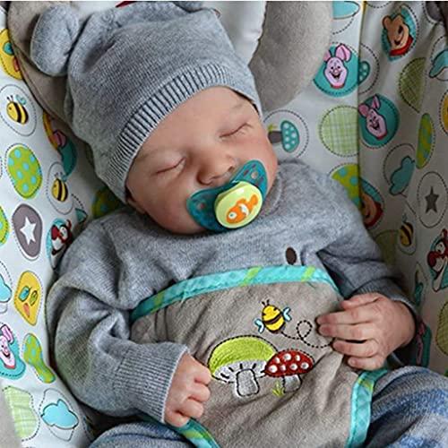 XIANZI 2021 NEU Reborn Dolls, Baby- Und Kleinkindpuppen, 19in Realistische Geschlossene Augen Schlaf Junge Weiches Vinyl Silikon Baby Nettes Neugeborenes Spielzeug Geschenk Für Kinder Kinder