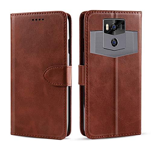 futypei Ulefone Power 5 Hülle, Premium Leder Flip Case mit Standfunktion undKartenfach Magnetisch Ledertasche Handyhülle TPU Innenraum Case Slim Lederhülle für Ulefone Power 5 Braun
