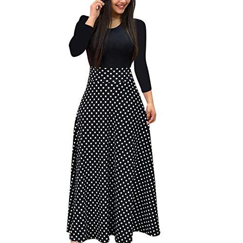 Ronamick vestidos mujer casual 2019 Moda mujer manga larga floral Boho imprimir vestido largo maxi vestido ocasional de las señoras Vestidos cortos verano(Negro,L)