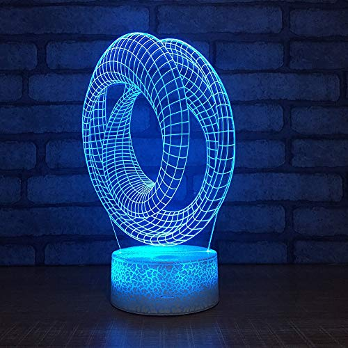 Anillo de acrílico 3D Kids Gift Night Light Pantalla de escritorio creativa LED Lámpara de mesa Niños Colorido Decorativo 3D Kids Gift