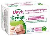 LOVE & GREEN Couches Ecologiques Hypoallergéniques 0% - Taille 2 - De 3 a 6 Kg - 36...
