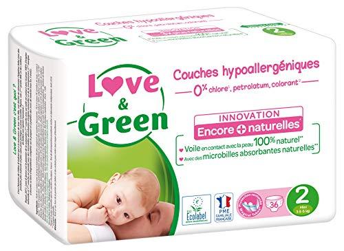 Love & Green - Couches Bébé Hypoallergéniques 0% - Taille 2 (3-6 kg) - 36 couches