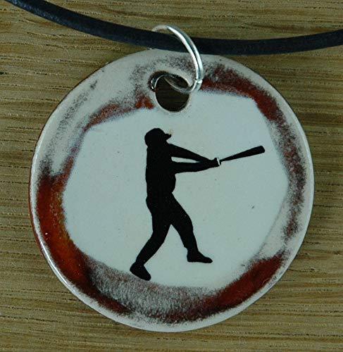 Echtes Kunsthandwerk: Schöner Keramik Anhänger mit einem Baseballspieler, Baseball, Sport, USA, Mann