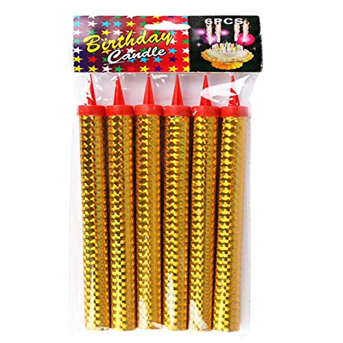 Xinjiashou Birthday Fountain Gold Candles, Candle Firework, Cake Candles, Attractive Cake Decoration For Birthday Parties Weddings Clubs Anniversaries, Pack Of 6