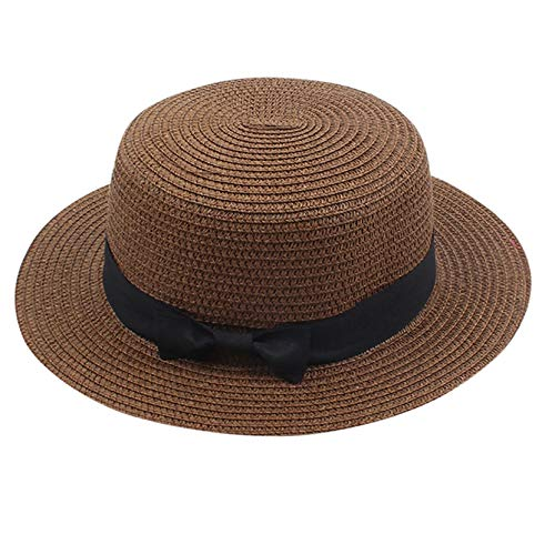 AM-Clearance Adult Fashion Sunshade Hat Fisherman's Hat Basin Hat Outdoor Bucket Hat,Ladies Summer Straw Sun Hats Women UPF Panama Beach Hats Foldable Packable & Adjustable (Brown)