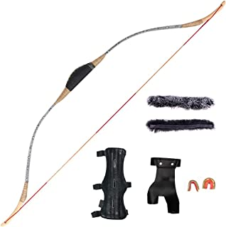 Huntingdoor Traditional Longbow Handmade Wooden Horsebow One-Piece Archery Hunting Recurve Bow Asian Mongolian for Adults Turkish Style Bow 30-50lbs