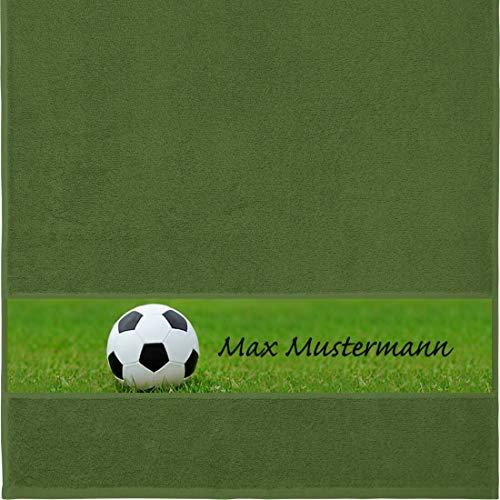 Manutextur Handtuch mit Namen - personalisiert - Motiv Sport - Fußball - viele Farben & Motive - Dusch-Handtuch - dunkelgrün - Größe 50x100 cm - persönliches Geschenk mit Wunsch-Motiv und Wunsch-Name