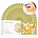 FRESHME Under Eye Mask - 20 Pairs Gold Eye Pads Hyaluronan Eye Patches Treatment Masks with Rosa Rugosa Oil for Moisturizing Reducing Dark Circles Puffiness Wrinkles Gel Pad for Women & Men