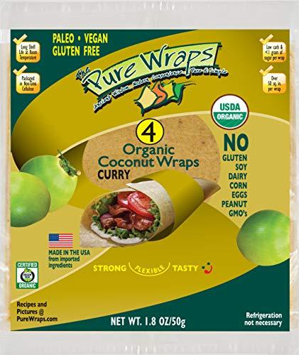 Organic Curry Coconut Wraps Pure Wraps, Keto, Vegan 4 Count