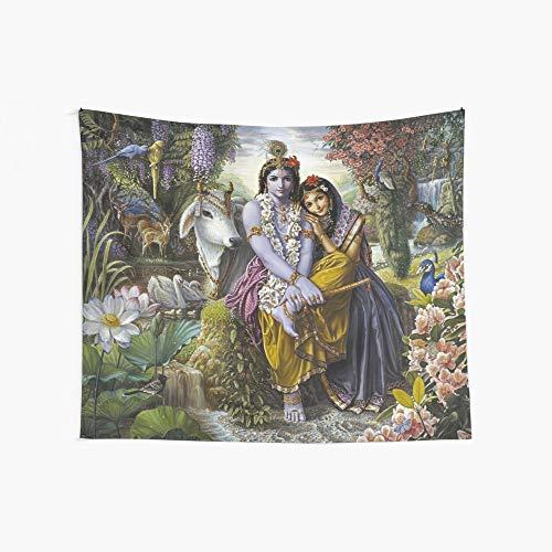 Gbxiat Couple Krishna and Radha Tapiz Boutique Tapiz para Colgar En La Pared Tapiz Vintage Tapiz De Pared Micro Fibra Melocotón Decoración para El Hogar 59.1X51.2 In