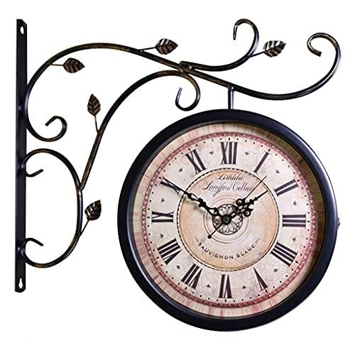Relojes de pared 360 ° Reloj Giratorio Hierro Doble Cara Estilo Europeo Reloj silencioso para escaleras Reloj Retro montado en la Pared del Patio (Color : Black b, Size : 16 Inches)