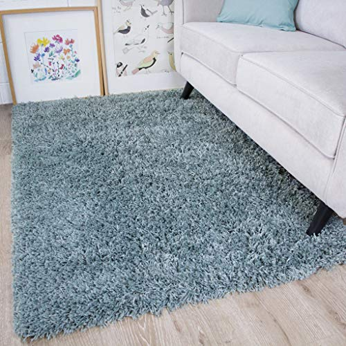 Ontario Duck Egg Blue Soft Warm Thick Shaggy Shag Fluffy Living Room Area Rug