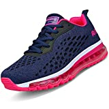 Women Men Running Shoes Sports Trainers Air Cushion Shock Absorbing Casual Walking Gym Jogging Fitness Athletic Sneakers(FA2-Rose-41)