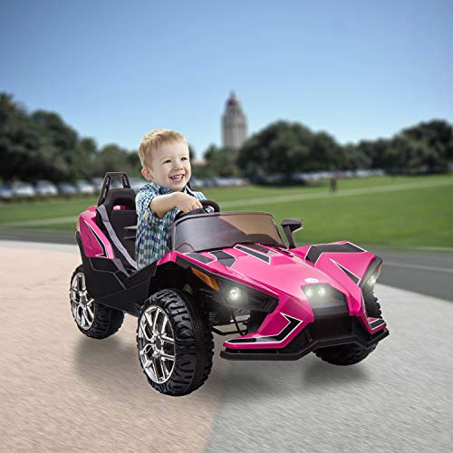 BABLE 2 Seats Kids Electric Car 12V Ride On Car Truck with Remote Control, Kids Car Ride on Toy Motorized Vehicles with Spring Suspension USB/MP3 Music Player Bluetooth FM Radio and LED Lights - Pink Florida