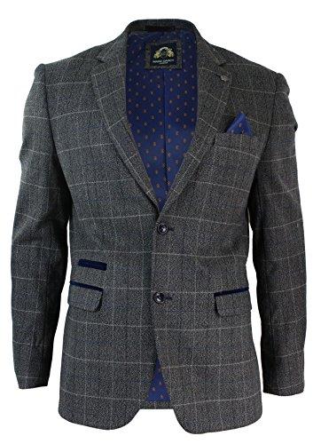 Hommes Gris Vérifier Herringbone Tweed Vintage Fit Blazer Veste en Velours Bleu Garniture
