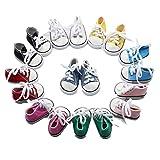 Fully 3 Paare Puppen Schuhe Schnüren Turnschuhe für 18 Zoll 18' Doll Stehpuppen Puppenbekleidung...