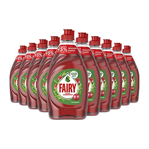Fairy Ultra Konzentrat Granatapfel Handgeschirrspülmittel, 10er Pack (10 x 450 ml) mit effektiver Formel für perfekt sauberes Geschirr, beeindruckende Fettlösekraft