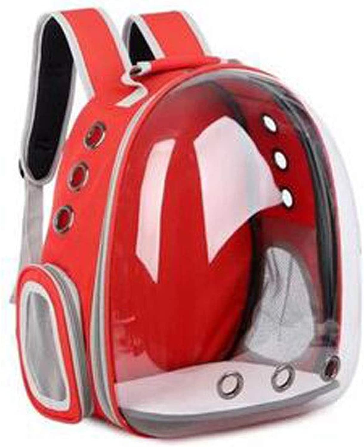 Chenjinxiang01 A Backpack Carried Outside The Pet, The Space Capsule Is Suitable For Small Dogs, Transparent Waterproof Pet Backpacks. (color   Red)