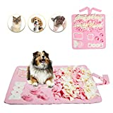 Petvins Dog Snuffle Mat Treat Blanket, Pet Puzzle Activity Mat for Stress Release, Nose Work Mat for Slow Feeding and Foraging Training Pink