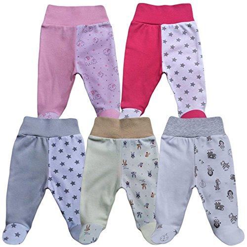 MEA BABY Unisex Baby Hose mit Fuß Baby Strampelhose mit Fuß 5er Pack. Baby Hose mit fuß Mädchen Baby Hose mit fuß Jungen (86, Mädchen)