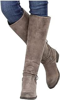 Dainzuy Women's Knee High Boots, Ladies Leopard Cross Tie Zipper Long Booties Pull on Slouchy Boots