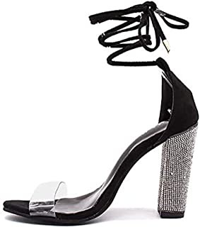 Womens Ankle Strap Sandal Transparent Open Toe Chunky High Heel Shoes