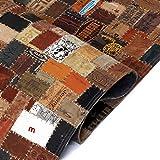 Nyyi Teppich Echtleder Jeans-Label Patchwork 120 x 170 cm Braun - 2