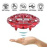 Mini Drones, Quadcopter Drone Auto-Avoid Obstacles Hélicoptère Rotatif 360 ° Boule avec lumières LED pour Enfants, Adultes,Red