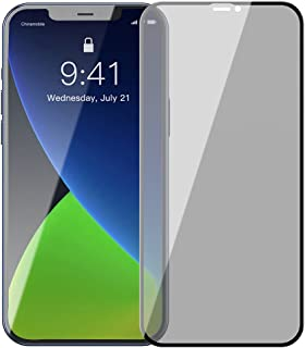 Baseus 0.23mm curved-screen tempered glass screenprotector with crack-resistant edges and anti-spy function For iP 12 mini...