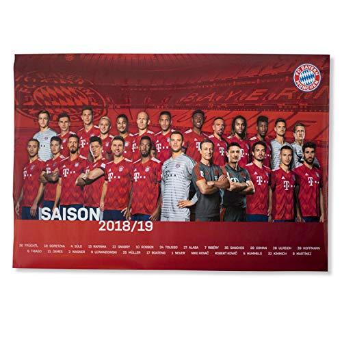 Bayern München Poster - 2018/19 - Team Plakat, Mannschaftsposter kompatibel FCB - Plus Lesezeichen I Love München